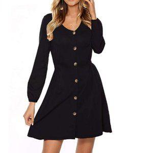 Women's Long Sleeve Button Down Casual Dress